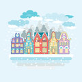Christmas time urban and village landscapes winter city landscape cute old european buildings house under the snow vector sign Royalty Free Stock Photos