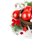Christmas tinsel with branch firtree and red balls Royalty Free Stock Images