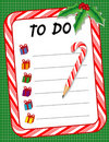 Christmas To Do Gift List & Candy Cane Pencil Stock Photo