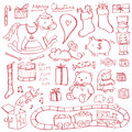 Christmas toy doodles toys illustrated in a doodled style Royalty Free Stock Photography