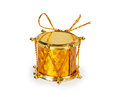 Christmas toy golden drum isolated on white background Royalty Free Stock Photography