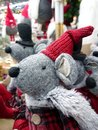 Christmas toy gray rat in a hat Royalty Free Stock Photo