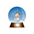 Christmas toy snow globe with a snowman Royalty Free Stock Photo