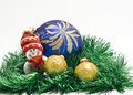 Christmas toy with three colorful New Year Balls Royalty Free Stock Photo