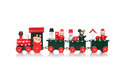 Christmas toy train isolated over white background Stock Photos