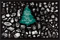 Christmas toys hand drawn vector icons set