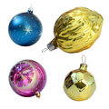 Christmas toys isolated on white background balls and gold nut Royalty Free Stock Photography