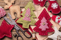 Christmas toys with their own hands top view Royalty Free Stock Photography