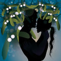 Christmas tradition – Kiss under mistletoe Royalty Free Stock Photo