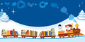 Christmas train with books santa claus and snowman in a toy Stock Photo