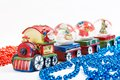 Christmas train bright toy decoration with santa claus Royalty Free Stock Photo