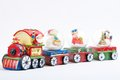 Christmas train bright toy decoration with santa claus Stock Images