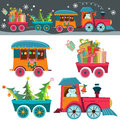 Christmas train funny background with a toy with gifts snowman and tree retro cartoon illustration Royalty Free Stock Image
