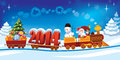 Christmas train new year and santa claus in a toy with gifts snowman and tree Stock Image