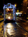 Christmas tram in Budapest Stock Images