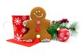 Christmas treats gingerbread man with festive mug and decor Royalty Free Stock Images