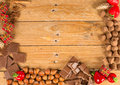 Christmas treats on table and food ingredients displayed a rustic wooden Royalty Free Stock Image