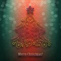 Christmas tree abstract decorated on background with defocused lights Royalty Free Stock Image