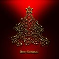 Christmas tree abstract golden on red background with text merry Royalty Free Stock Image