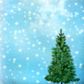 Christmas tree on abstract green background vintage Royalty Free Stock Images