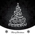 Christmas tree background ornamental monochrome swirly Royalty Free Stock Photos