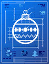 Christmas tree ball symbol like blueprint drawing stylized of decoration bauble sign on paper qualitative vector eps illustration Stock Photos