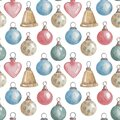 Christmas Tree Balloons Botanical Illustration. Hand Drawing. Seamless Pattern For A New Year Or Christmas Card. Winter Background