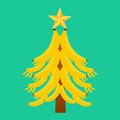 Christmas tree with bananas on a green background Royalty Free Stock Photo