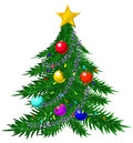 Christmas tree with baubles and garlands colorful Royalty Free Stock Photos
