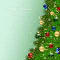 Christmas tree with baubles green background and illustration Royalty Free Stock Photos