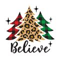 Christmas Trees with Leopard Print and Buffalo Plaid Patterns