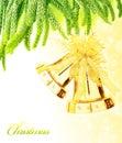 Christmas tree bells border Royalty Free Stock Photo