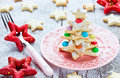Christmas tree biscuit decorated colorful candy on a beautiful p Royalty Free Stock Photo