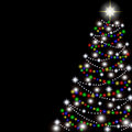 Christmas tree on a black background. Vector Royalty Free Stock Photo