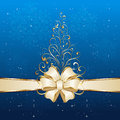Christmas tree on blue background with bow and golden from ornate elements illustration Royalty Free Stock Image