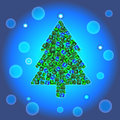 Christmas tree on blue gradient background jewellery Stock Image