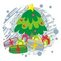 Christmas tree on blue greeting card  illustration Royalty Free Stock Photo