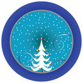 Christmas tree blue medallion Stock Image
