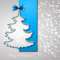Christmas tree from blue ribbon background eps Stock Photo