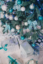 Christmas tree with blue and silver details in the interior white decorations Stock Photo