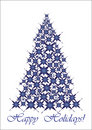 Christmas tree - blue stars Stock Photos