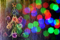 Christmas tree and blurred lights colored with multicolor Royalty Free Stock Photography