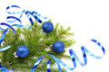 Christmas tree branch and blue ribbon Stock Images