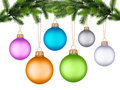 Christmas tree branch with Christmas ball Stock Images