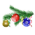Christmas tree branch with Christmas balls Royalty Free Stock Photography