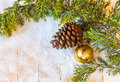 Christmas tree branch pine cones and fir tree toy in the snow new year Royalty Free Stock Image