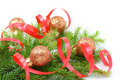 Christmas tree branch and red ribbon Royalty Free Stock Image