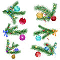 Christmas tree branches with Christmas balls Stock Photography