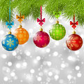 Christmas tree branches with color balls Stock Photos