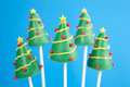 Christmas tree cake pops Royalty Free Stock Photo